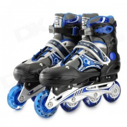 TIAN-E TE-665 Sport Aluminum Alloy + PE + PP Roller Skates - Black + Blue + Silver (Pair / M)