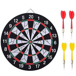 woodenDart Board and Bull's Eye Game with Darts - Black