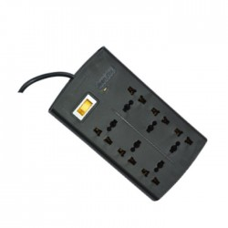 Huntkey SZM604 Six Socket One Master Switch 375 Joules Surge Protection PowerStrip - Black