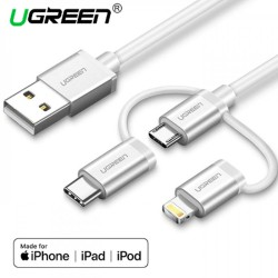 Ugreen USB 2.0 to Micro USB+Lightning+Type C (3 in 1) Data Cable with Braid Silver 1M