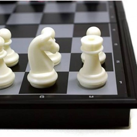 Chess and Checkers Folding Magnetic Board - Black and White