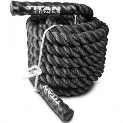 "40' x 2"" Battle Rope Black Poly Dacron"