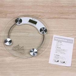 Personal Weight Machine 8mm Thick Round Transparent Glass Weighing Scale (White)