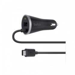 Belkin USB-C Car Charger with Hardwired USB-C Cable & USB