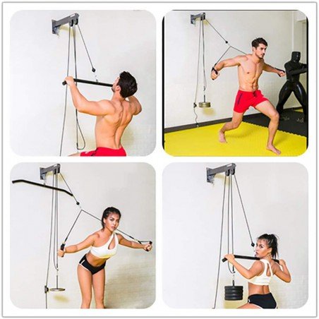 Tricep Workout Machine Equipment Wall-Mounted Cable Pulley System with Loading Pin for LAT Pull Down