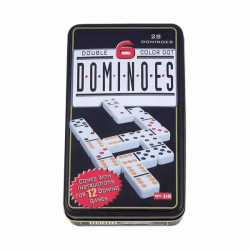 Plastic Double Six Color Dot Dominoes Game Set in a Tin Case